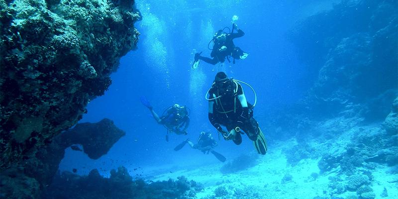 Schwimmflossen als Teil der Tauchausrüstung